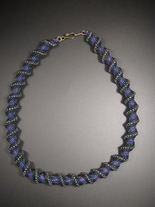 Purple & Green Cellini Spiral Necklace