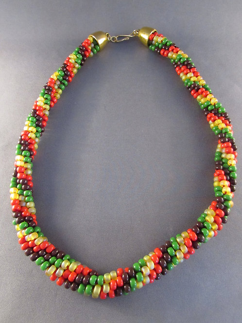 Red, Brown Yellow & Green Twisted Spiral Necklace