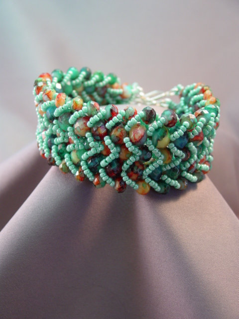 Teal & Multi-colored Glass Accented Bracelet