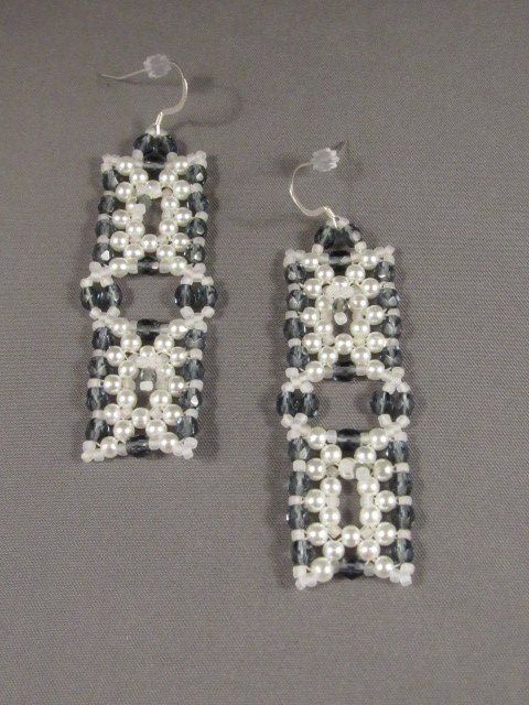Grey & White Connected Rectangles Earrings