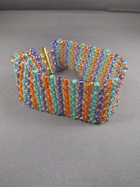Orange Purple Turquoise & Gold Bracelet