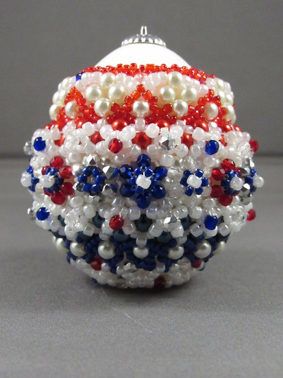 Red, White & Blue Flowerd Chicken Egg