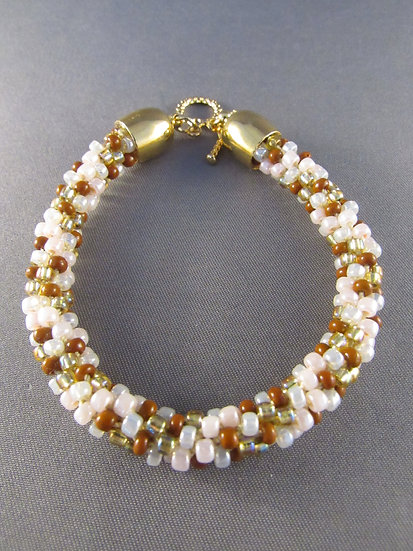 Peach Brown Gold & White Twisted Bracelet