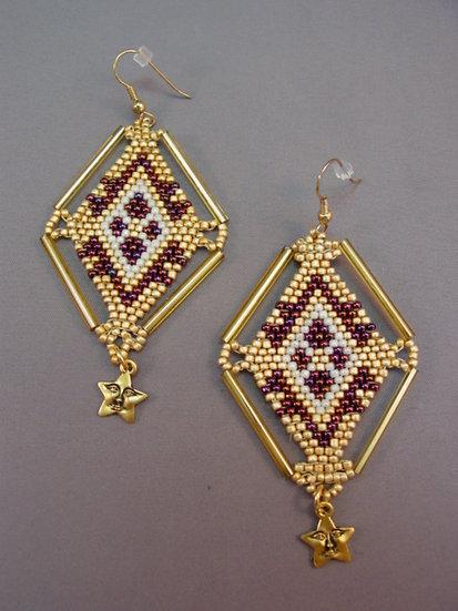Framed Diamond Shaped Earrings w/Star Fetish