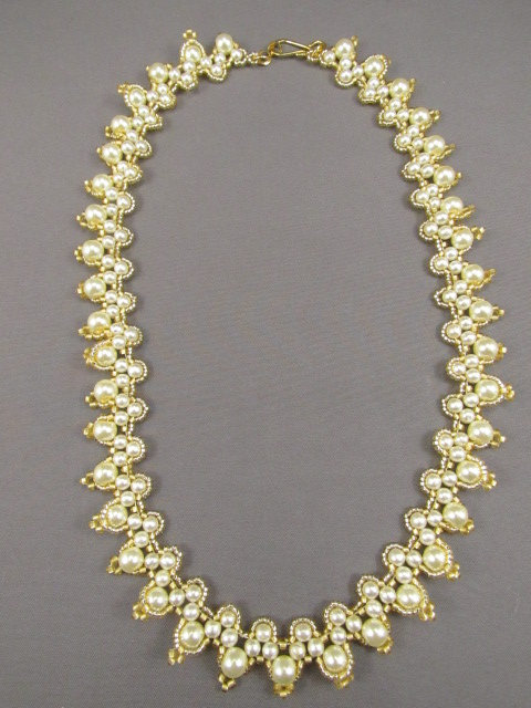 White Pearl & Gold Necklace