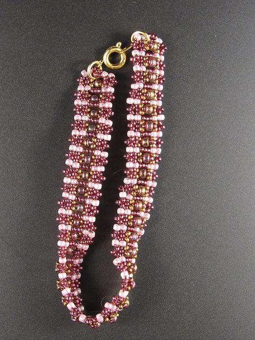 Pink & Burgundy Raised Rows Bracelet