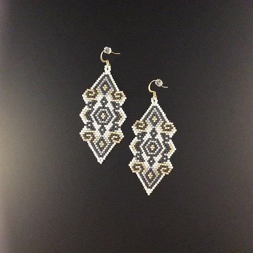 Black White & Gold Earrings