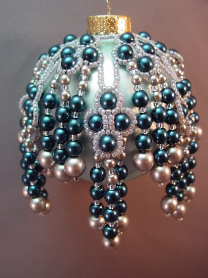 Bejeweled Downpour Beaded Ornament Cover PDF Pattern Tutorial