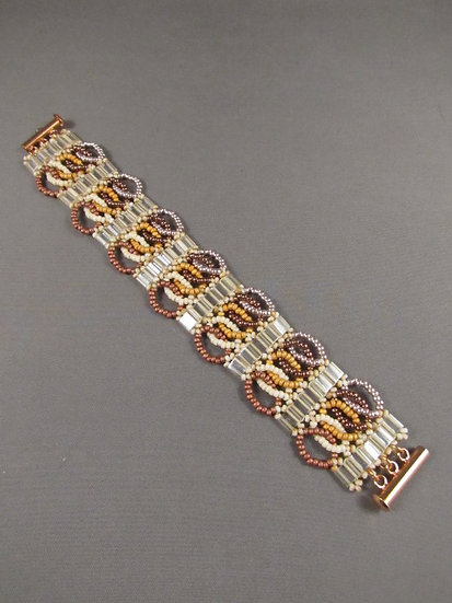 Brown & Cream Looped Squares Bracelet