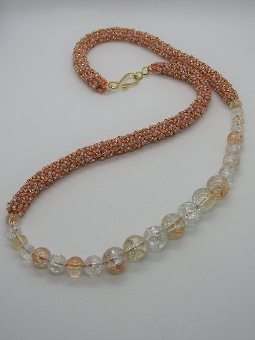 Peach Clear & Gold Cracked Glass Necklace