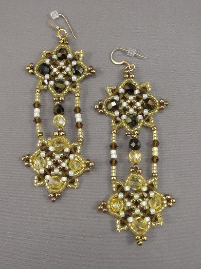 Crystal Quatrefoil Earrings - Brown Cream Gold