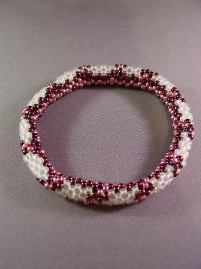 Burgundy, Pink & White Tubular Bangle