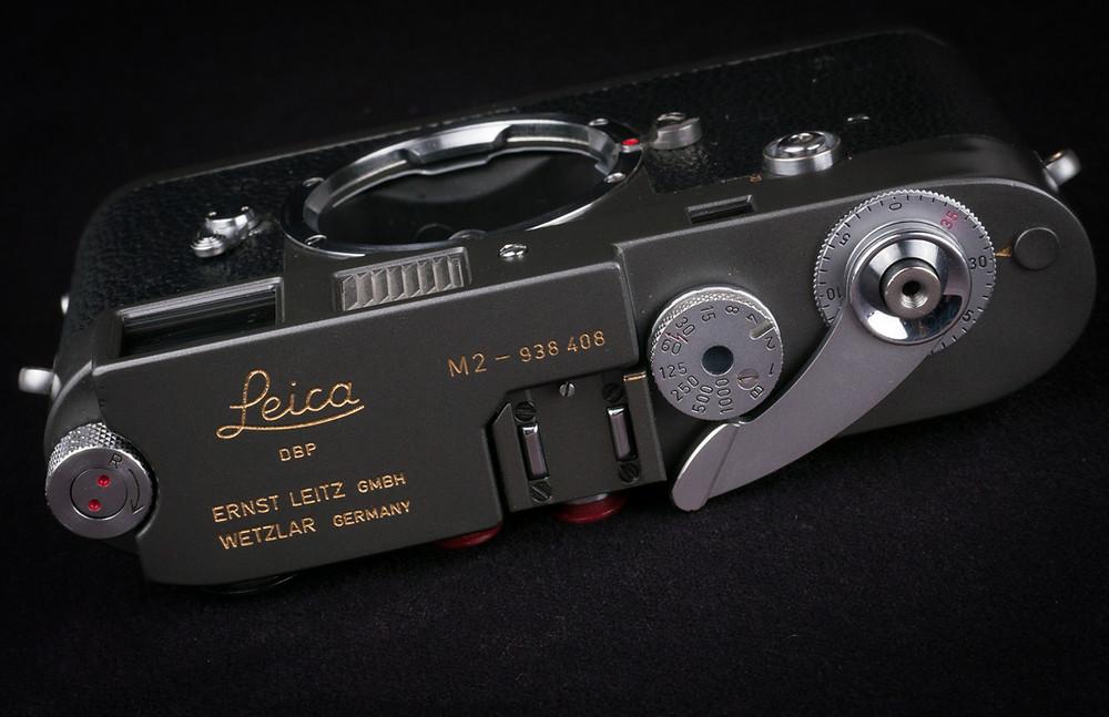 Leica M2 Grey Repaint Top View cameraworks-uk