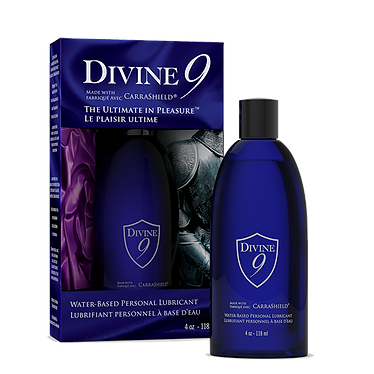 Bottle of Divine 9 Personal Lubricant with CarraShield