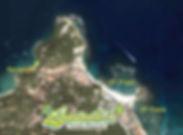 Mapa da Ilha de Morro de São Paulo na Bahia (Brasil) com a localização de Posada Borboleta