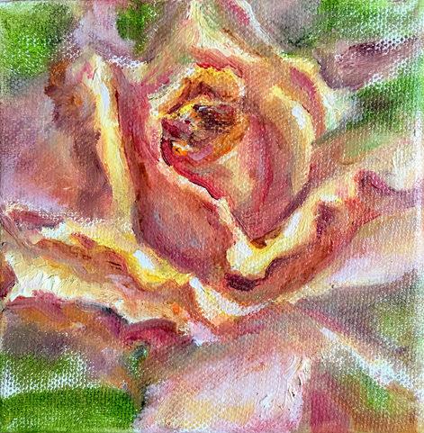 Rose jaune.Huile sur toile. Technique mixte. 15x15