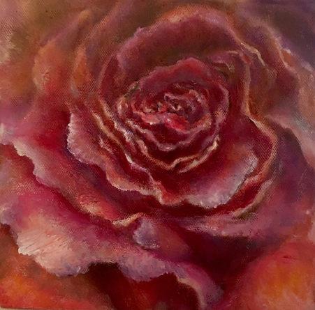 Rose. Huile sur toile. Technique mixte. 15x15