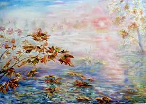 Lac en Matin d'automne. Huile sur toile. Technique mixte. 2015.  Осеннее утро на озере. Холст. Масло. 115x80