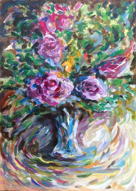 Roses et couleurs. Acrylique sur papier. Цветные розы. Бумага, акрил. 40x30.