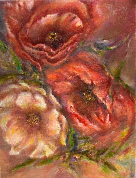 Huile sur toile - Technique mixte. Цветное трио. Холст. Масло. Смешанная техника. 35x30