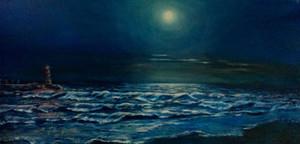 Sonate de la lune. Huile sur toile. Technique mixte. 2014. Лунная сoната. Холст. Масло.100x50
