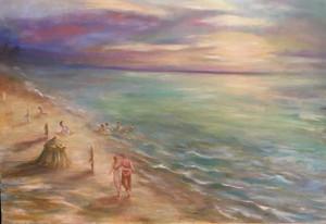Soirée à la plage de Deauville. Huile sur toile. Technique mixte. 2017. Вечер на пляже Довиля. Холст. Масло. Смешанная техника. 90x65