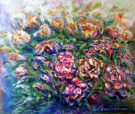 Roses en gerbe. Huile sur toile. Couteau. Копна роз. Холст, масло. Мастихин 55x46