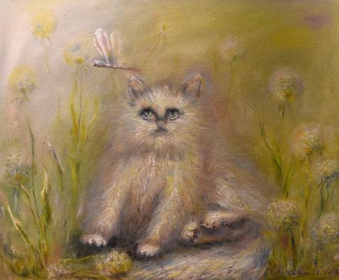 Le chat et la libellule. Huile sur toile. Technique mixte. 2016. Мультяшный кот и стрекоза. Холст. Масло. Смешанная техника. 60х50