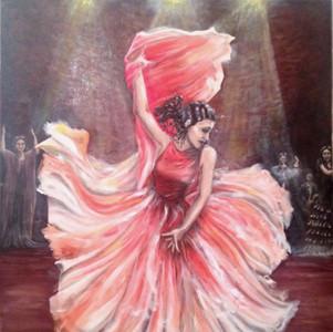 Flamenco. Huile sur toile. Technique mixte. 2015. Фламенко. Холст. Масло. 80x100
