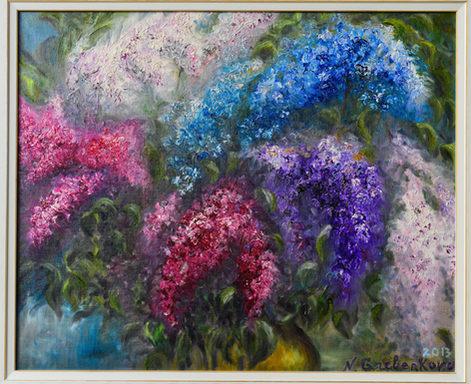 Multicolore. Huile sur toile. Technique mixte. 2013. Многоцветие. Масло. Смешанная техника. 40x50