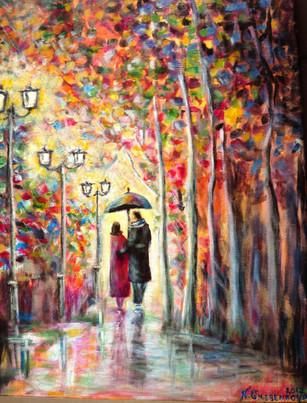 Promenade sous la pluie. Huile sur toile. Technique mixte.  Прогулка под дождём. Холст. 70x50
