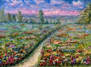 Prairie en fleurs. Huile sur toile. Technique mixte. 2013. Цветущий луг. Холст. Масло. Смешанная техника. 73x54