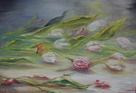 Tulipes éparses. Huile sur toile - Technique mixte. Россыпь тюльпанов. 2015.  Холст 3D. Масло. Смешанная техника. 80x60