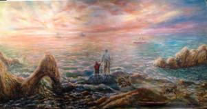 Coucher de soleil en Bretagne.Huile sur toile. Technique mixte. 2013. Закат на море.  Холст. Масло. Смешанная техника. 100x50