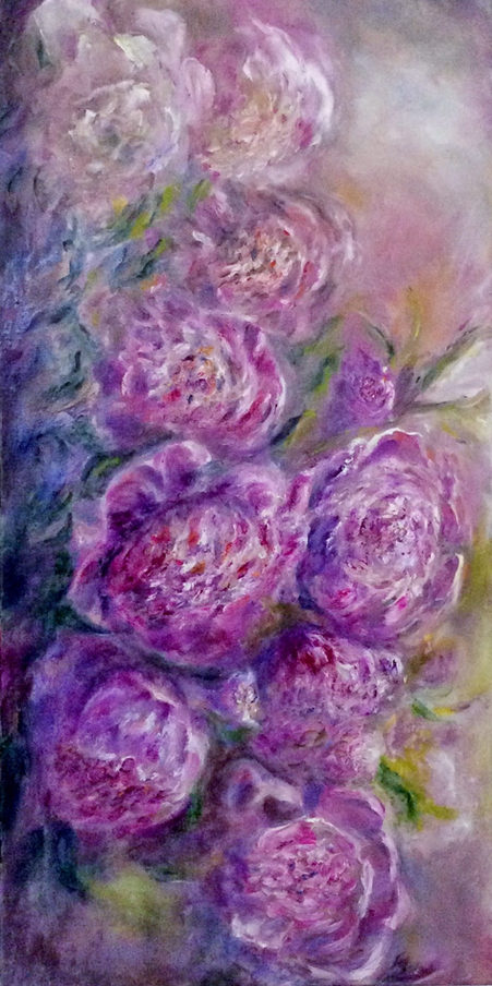 Roses en songe. Huile sur toile. Technique mixte. Гирлянда пионов. Холст, масло. Смешанная техника. 80x40