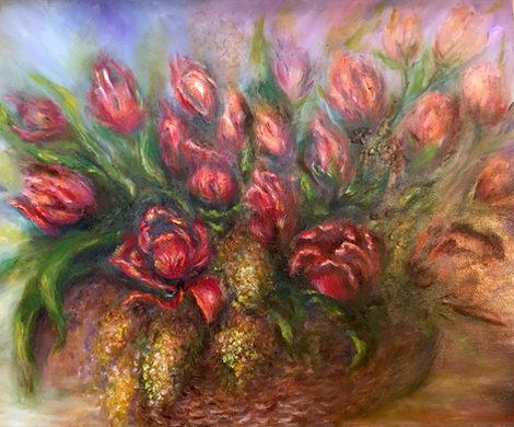 Panier de tulipes. Huile sur toile. Technique mixte. 2016. Карзина  тюльпанов.  Холст. Масло. Смешанная техника.60x50