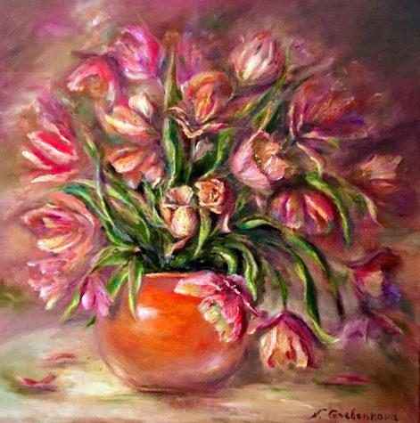 La matinale des tulipes. Huile sur toile - Technique mixte. 2018. Утренние тюльпаны. Холст, масло. Смешанная техника. 80x80