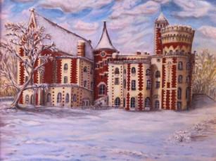 Château d'Hennemont. Huile sur toile - Technique mixte. 2012. Замок Энмонт. Холст. Масло. 70x50