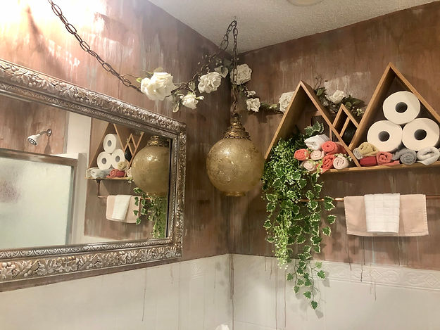 Flipped Bathroom - Shower Unit added, Tile Painted, Replaced Mirror, Drippey Paint Effect, Antique globe & flowers