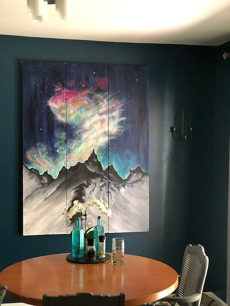 Dining Area added one of my paintings, Aurora Year to bring this place into this glorious experience