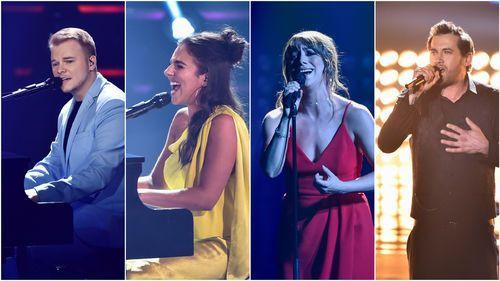 Les quatre finalistes de La Voix 7 :  Vincent, Raphaëlle, Geneviève et Collin. Crédit photo: https://www.tvanouvelles.ca/2019/04/28/la-voix-en-route-vers-la-finale