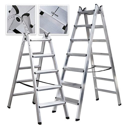 DUO Escalera Doble Acceso de Aluminio Peldaño Ancho Soldado