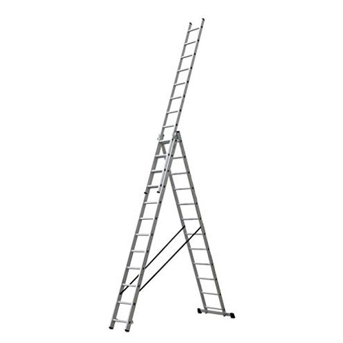 Escalera Triple Tijera 4.0 Metros, Profesional de Aluminio 3 Tramos Ext