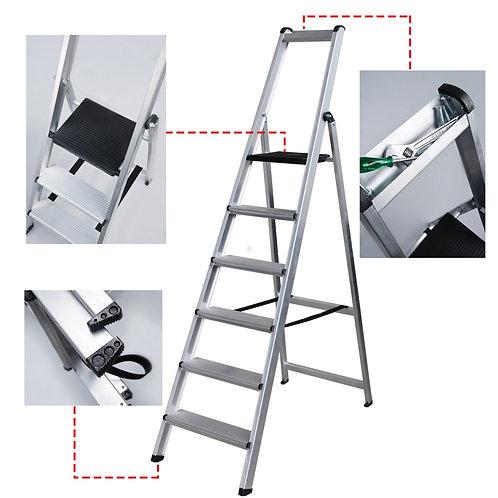 TORO Escalera Ancha de Aluminio Robusta con Porta Herramienta