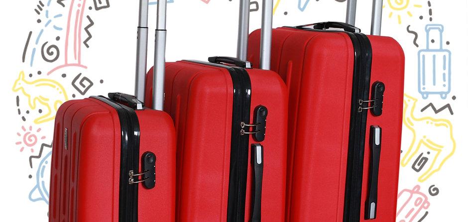 Juego de maletas de viaje ABS  3 Piezas con 4 ruedas