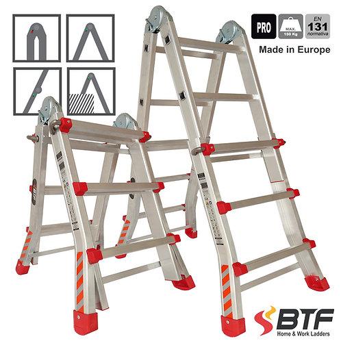 Escalera Telescópica de Aluminio Tijera Doble Acceso 3+3 peldaños