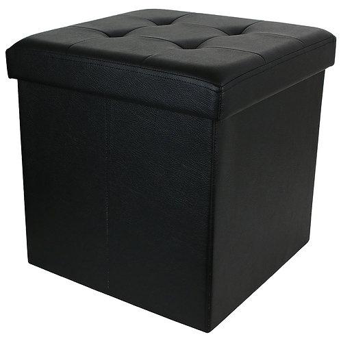 Caja Puf Almacenamiento Negro