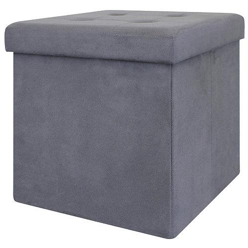Caja Puf Almacenamiento Gris