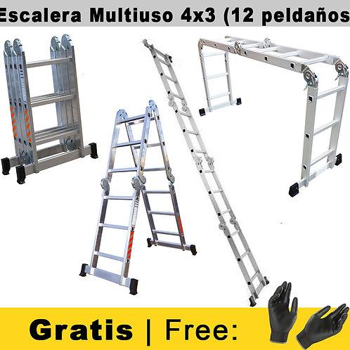 Escalera de Alumínio Multifuncional 4x3 -12 Peldaños