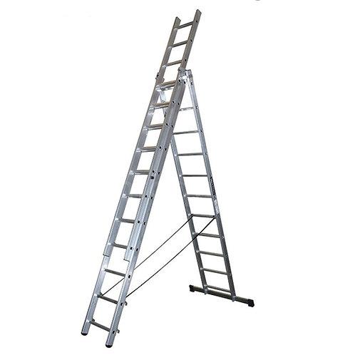 Escalera Triple 3x11 (3+3+3 Mts) Profesional de Aluminio Certificadas EN131
